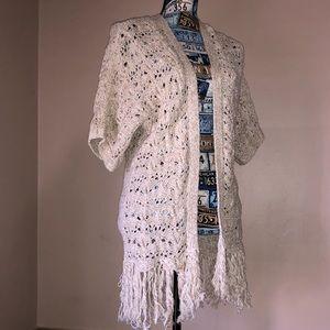 AEO Tan Open Kimono Fringe Bottom